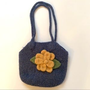 An Artisan Purse Worsted Felted Wool Lined Satin